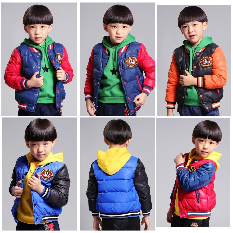 Free shipping New boy hooded winter color matching cotton quilted jacket<br><br>Aliexpress