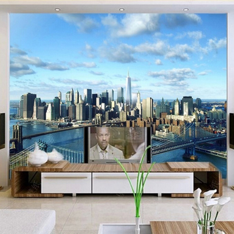 Compare prices on cityscape wall mural online shopping for Cityscape mural