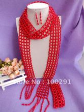 2016//!!!new design fashion Luxury Bridal coral jewelry set Scarves design necklace bracelet earring set(China (Mainland))