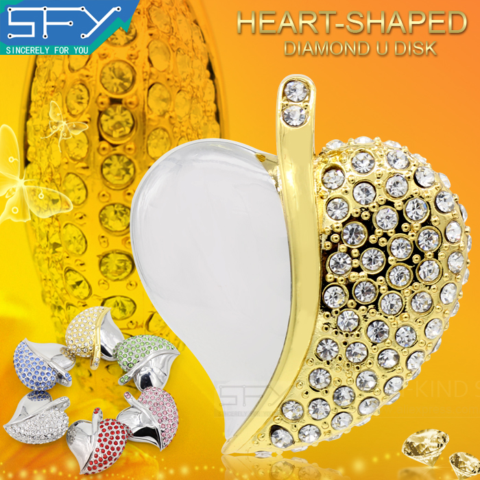 2015 New Fashion SFY Real Capacity Jewelry Crystal Necklace Heart 8GB 16GB 32GB Pen Drive Pendrive USB Flash Drive Free Shipping(China (Mainland))