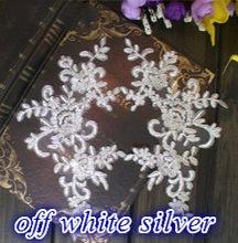 15 cores Vermelho Preto Azul Branco Lantejoulas Carro-osso Vestido de Noiva Applique DIY Remendo Do Laço de Noiva Acessórios Para o Cabelo Rendas flor 4 Peças(China)