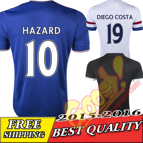 new 2015 2016 chelsea oscar football shirt eden hazard white blue soccer jersey 15/16 drogba jerseys costa yokohama away white(China (Mainland))