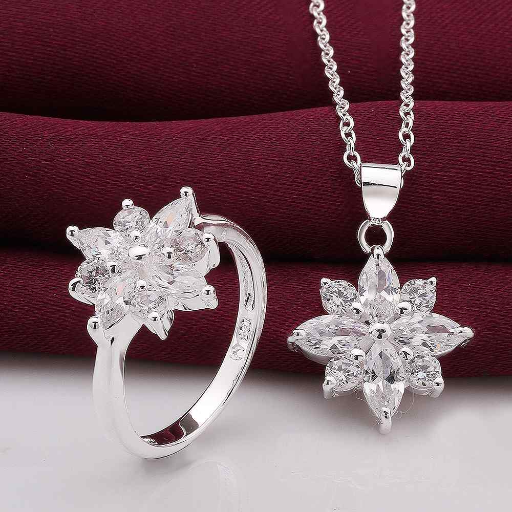 Free Shipping Fashion New Brand Design Luxurio silver jewelry set stat flower R+N joias(China (Mainland))