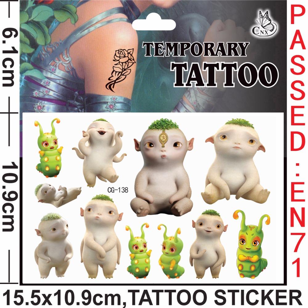 The Baby Monster Tattoo Skin Art Flash Tattoo Stikers 15.5*10.9cm henna Car Styling Sticker custom tattoo sticker for kids<br><br>Aliexpress