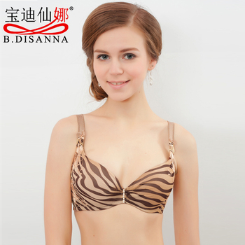 Budee professional adjustable underwear high quality sexy zebra print embroidery bra cup bra