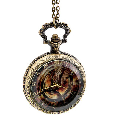 3pcs lot 2015 New top sale Vintage Hunger Game watch Quartz Pocket Watch With Chain DIY