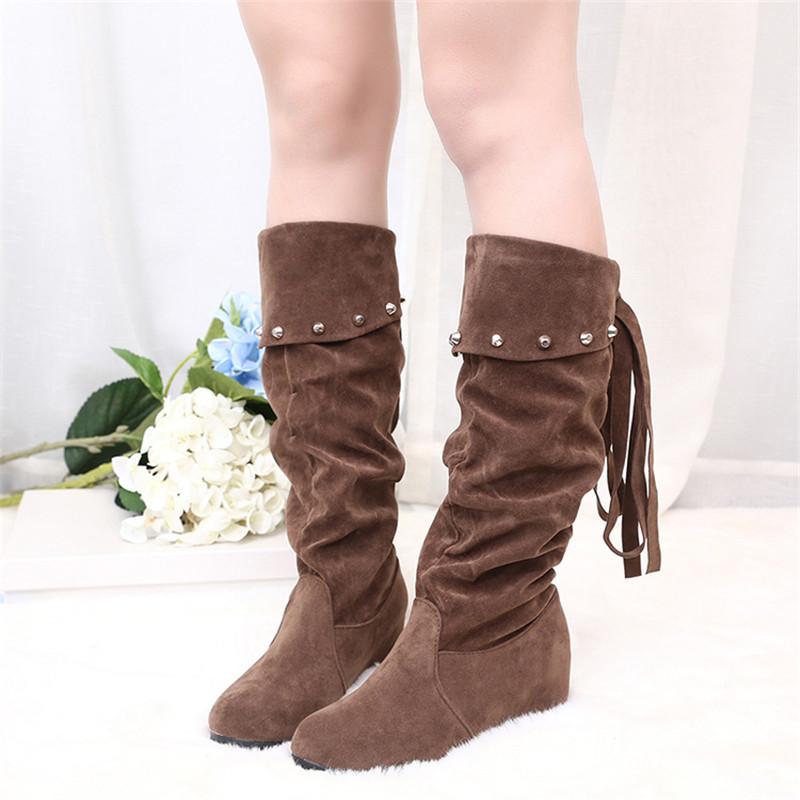 2016 New Fashion Spring Autumn Casual Shoes Princess Sweet Women Boot Stylish Flat Flock Shoes Fashion Mid-calf Boots Black(China (Mainland))