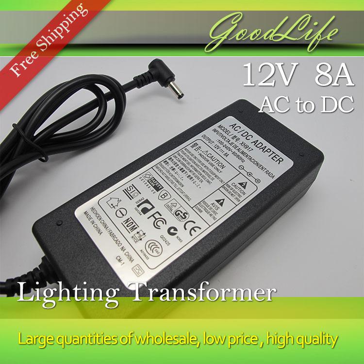 LED Lighting Transformers 12V 8A 96W Power Adaptor, for Led Strip 5050,5630,5730 Supply,us/eu/au/uk for Choice,free Shipping(China (Mainland))