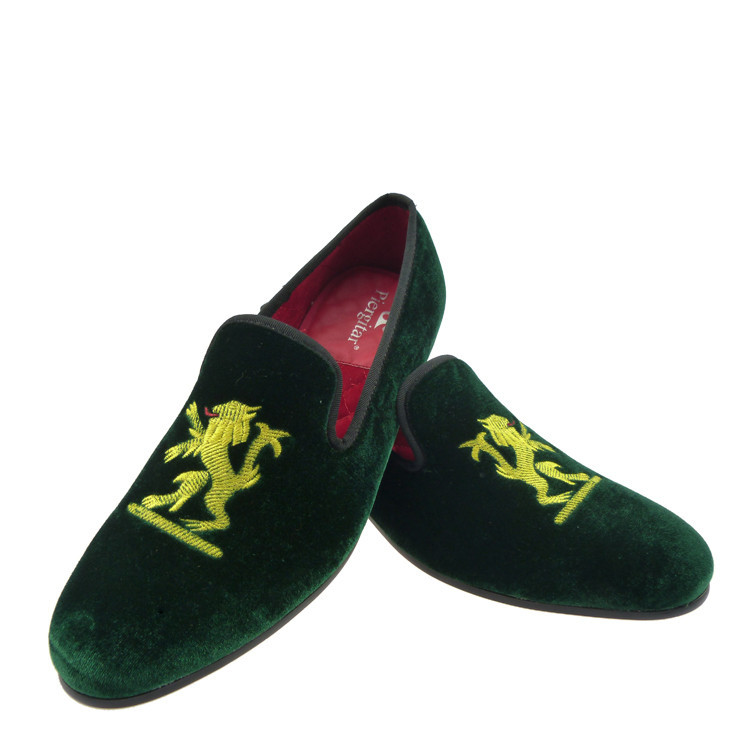 loafers men motif green velvet slippers shoes US size 6-13 - Merling Garden store