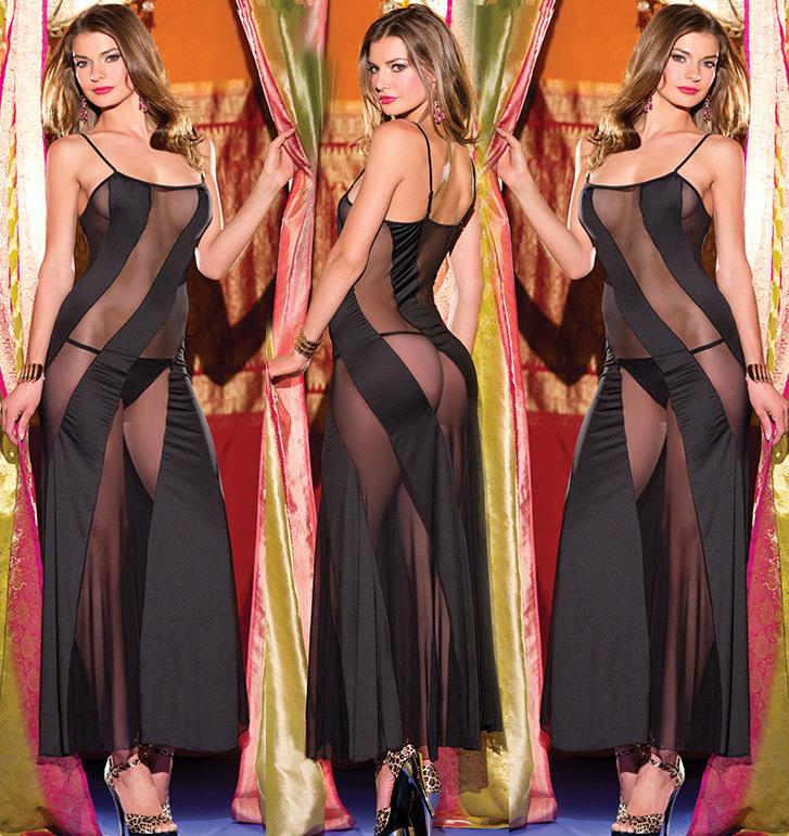 Women Ladies Sexy Long Mesh Tempting Sleepwear Black Cross Tie Nightdress Sweet Babydoll G-string Lingerie(China (Mainland))