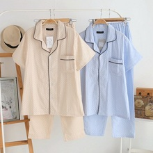 Sell High Quality Cotton Linen Men's Pajama Set Buttons Downs Front Pockets BandWaist Cozy Sleep Wear Lounge wear Set(China (Mainland))