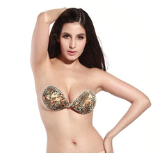 2016 New Fashion Sexy Women Leopard Self-Adhesive Breast Push Up Bra Silicone Front Closure Strapless Invisible Bras 3/4 Cup