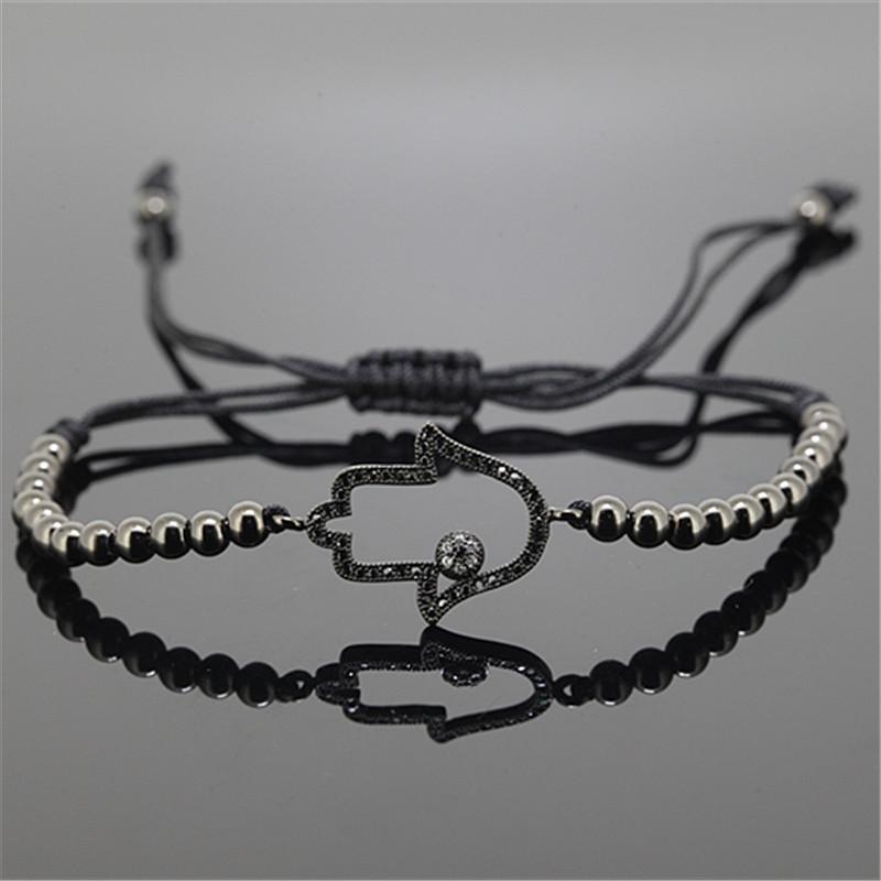 5pcs  Fashion Men Silver Bracelet,4mm Round Bead&amp; Pave Black CZ hand palm Connector Braiding Anil Arjandas Men Macrame Bracelet<br><br>Aliexpress