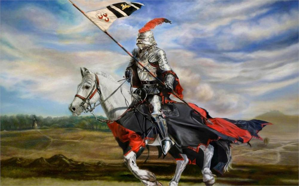 Art prancing knight armor armor spear pennant loschad drawing 4 Sizes Home Decoration Canvas Poster Print(China (Mainland))