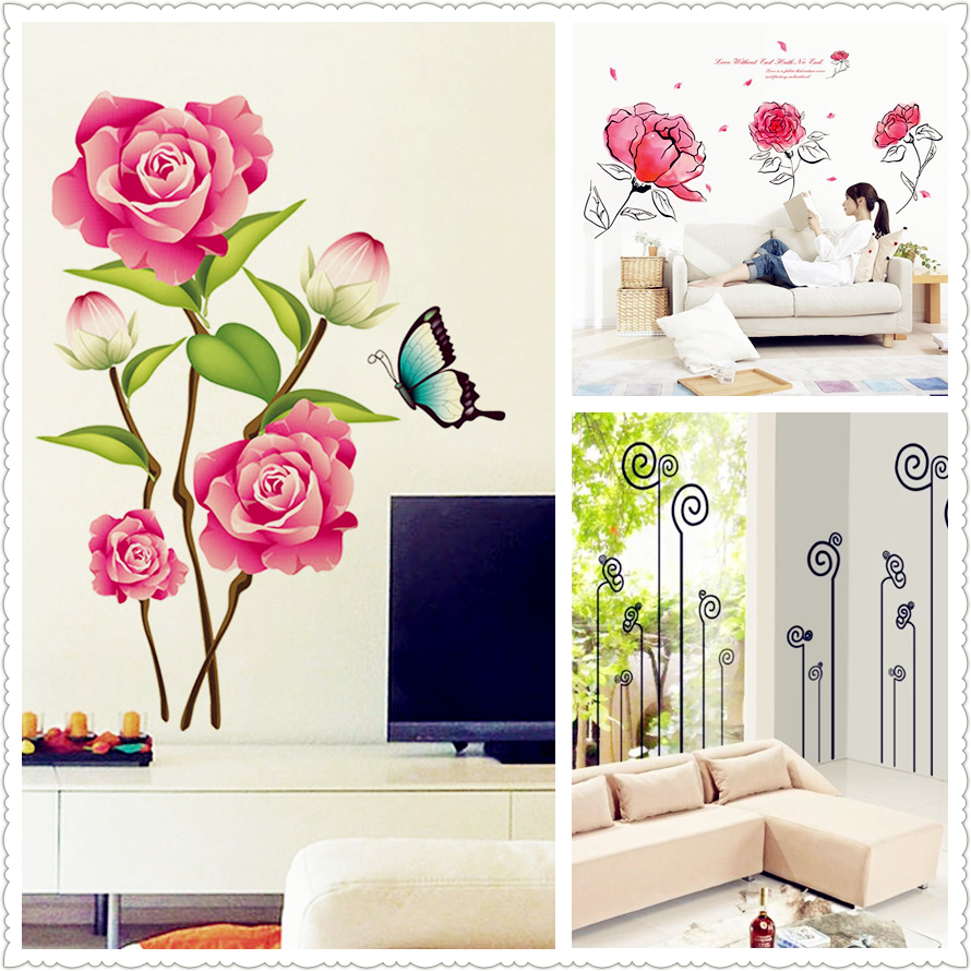 new 3D Pink flower/ink painting flower butterfly Wall Stickers Home Decor for kids Rooms living room bedroom closet/window PVC *(China (Mainland))
