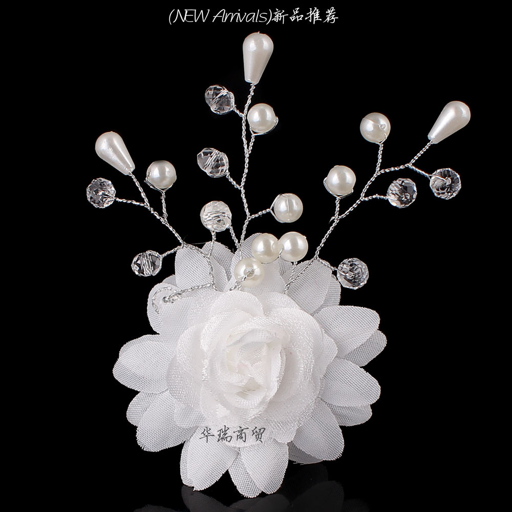 One Piece White Flower Pearl Beads Women Wedding Bridal Hair Pin Clips Hair Jewelry Free Shipping(China (Mainland))