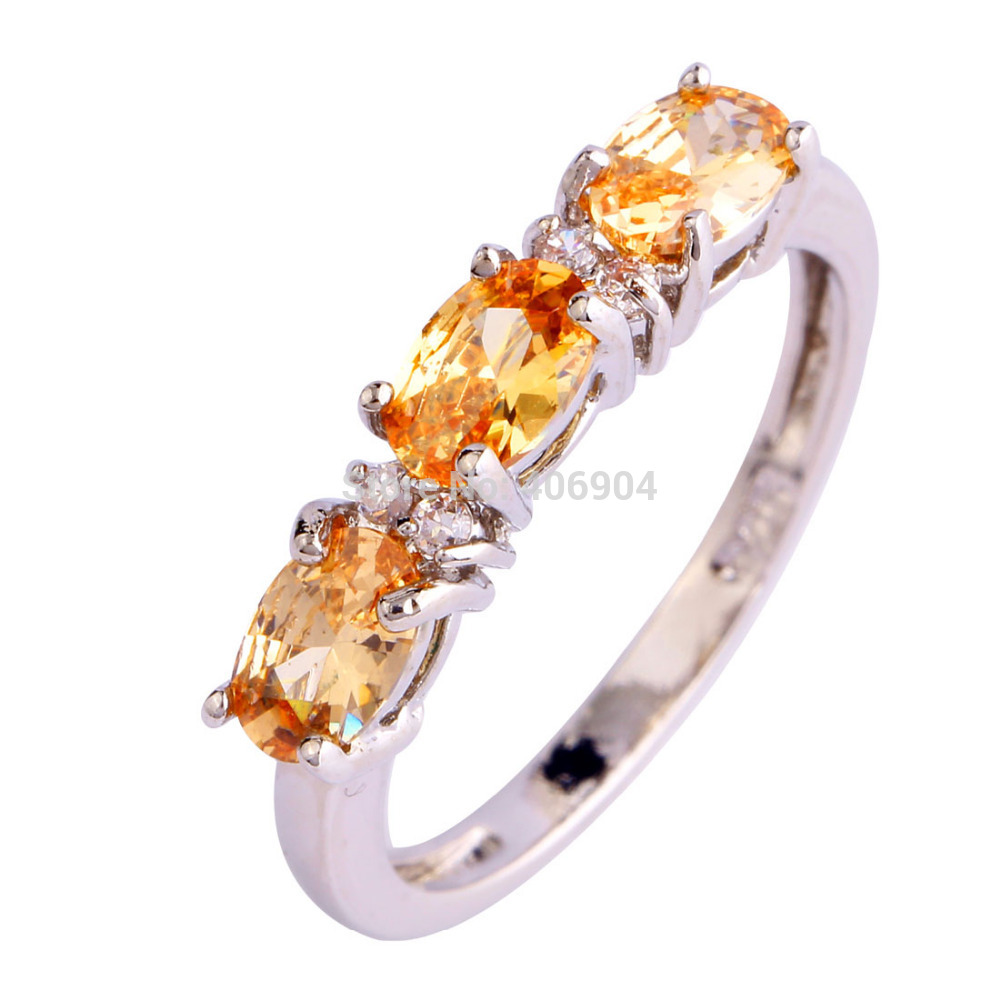 Wholesale Champagne Jewelry Morganite White Topaz 925 Silver New Ring Size 6