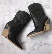 BuonoScarpe Timsah Derisi Botas Mujer Batı Botları Kovboy Çizmeleri Kadınlar Için Pist Tasarım Tıknaz Takozlar Topuk Orta buzağı Çizmeler 2018(China)