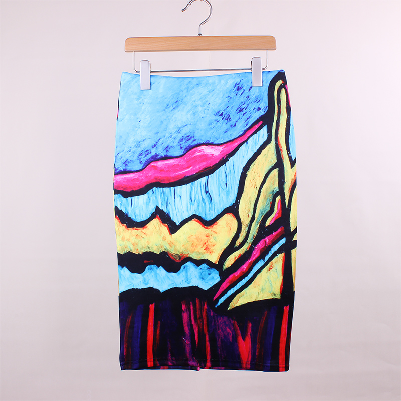 Impressionist painting print ladies pencil skirts America Europe fashion design vogue women slim bottoms girls apparel free ship(China (Mainland))