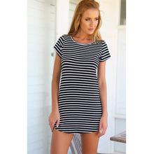 Buy Yollmart Striped Sea Soul Casual Waist Round Neck Short Women Loose Dress Short Sleeve Dress for $8.94 in AliExpress store