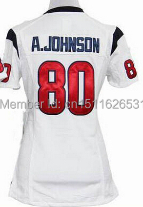 Lady Andre Johnson Houston 80 Football Red Drift,Blue,Pink Love,Blue diamond sequins Embroidery Logos Size M-XXL Free Shipping(China (Mainland))