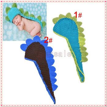 Newborn Baby Crochet Dinosaur Hat Infant Photo Props Kids Knitted Animal Hats Beanies Handmade Caps Free Shipping