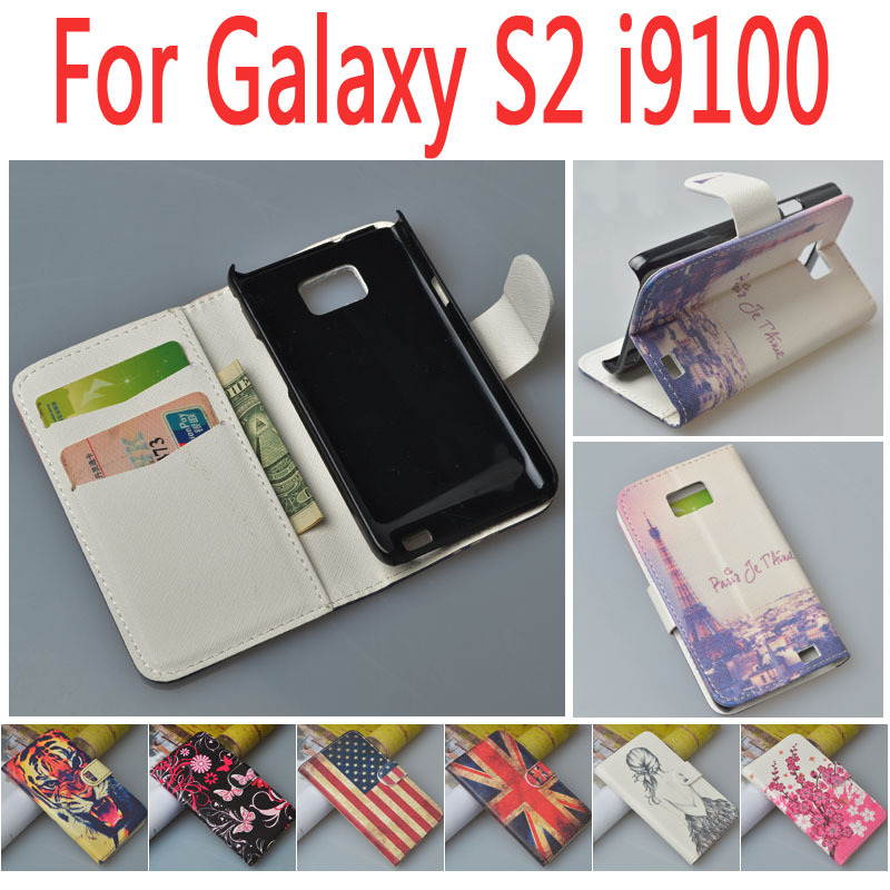 Гаджет  Hot Item Pattern Leather Case Cover for Samsung Galaxy S2 II i9100,with stand function and card slots, free shipping None Телефоны и Телекоммуникации