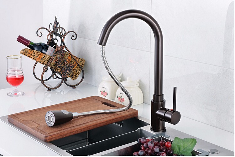 2016 Single Hole Pull Out Red Black Kitchen Tap Pull Down