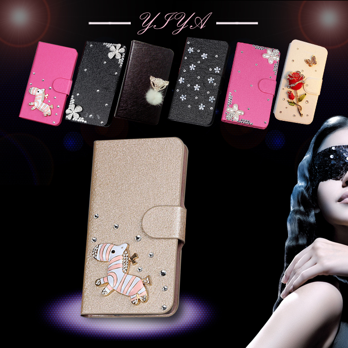 Various Flower Flip Cover for sony Xperia C S39H C2305 Bling 3D flip diamond PU skin wallet(China (Mainland))