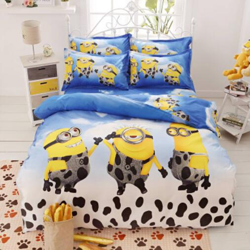 6 Colors Cartoon Bedding Set 4pcs Cama Minions Bedclothes Duvet Cover Bed Sheet Children Kids Comforter Bedding Sets Bed Linen(China (Mainland))