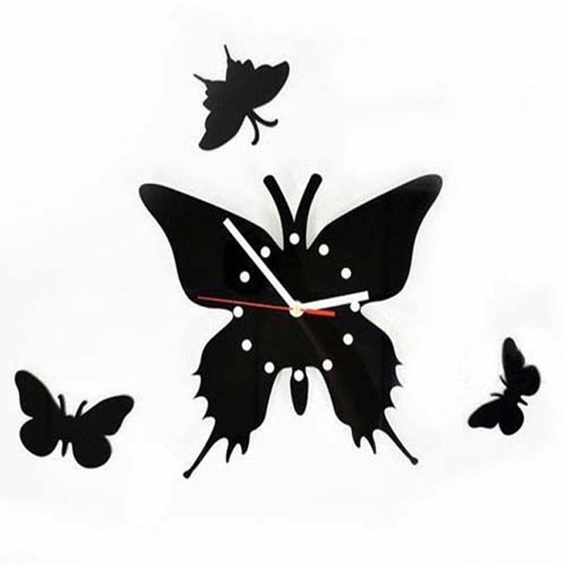 fashion watch 3D Wall Clock Plastic Butterfly wall Clock mechanism large decorative wall clock home modern design(China (Mainland))