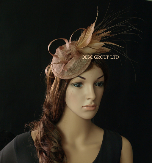 Dark pink sinamay feather fascinator for Kentucky derby and wedding .(China (Mainland))