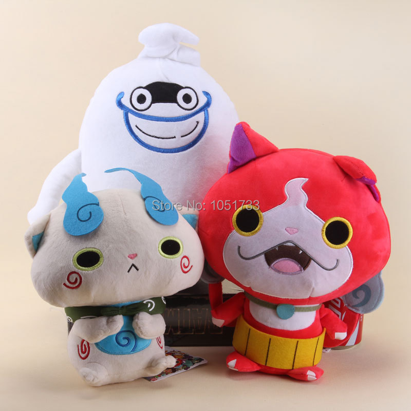 Hot Sale 3pcs/lot Yo-Kai Watch Plush Toys Whisper Komasan Jibanyan Stuffed Plush Soft Dolls Gift For Kids Free Shipping(China (Mainland))