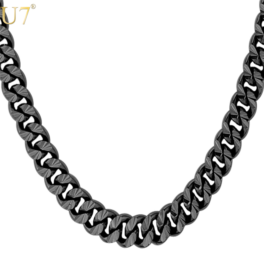U7 New 2016 Black Gun Plated Long Necklace For Men Fashion Jewelty Trendy 6 Size 7MM Cuban Link Chain Necklaces Men Jewelry N560(China (Mainland))