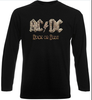 AC DC Rock Or Bust ACDC T-Shirt Long Sleeve Heavy Metal