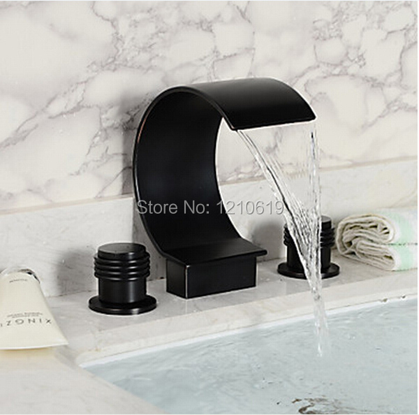 Фотография Newly US Free Shipping Oil Rubbed Bronze Arc-shape Spout Bathroom Waterfall Bathtub Faucet Dual Handles Mixer Tap Deck Mount