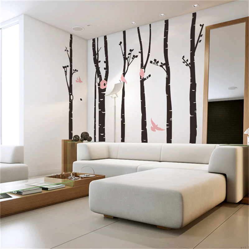 2016 Cute Birds Birch Tree Wall Sticker Decal Wallpaper Mural Nursery Baby Forest Home Background Decoration(China (Mainland))