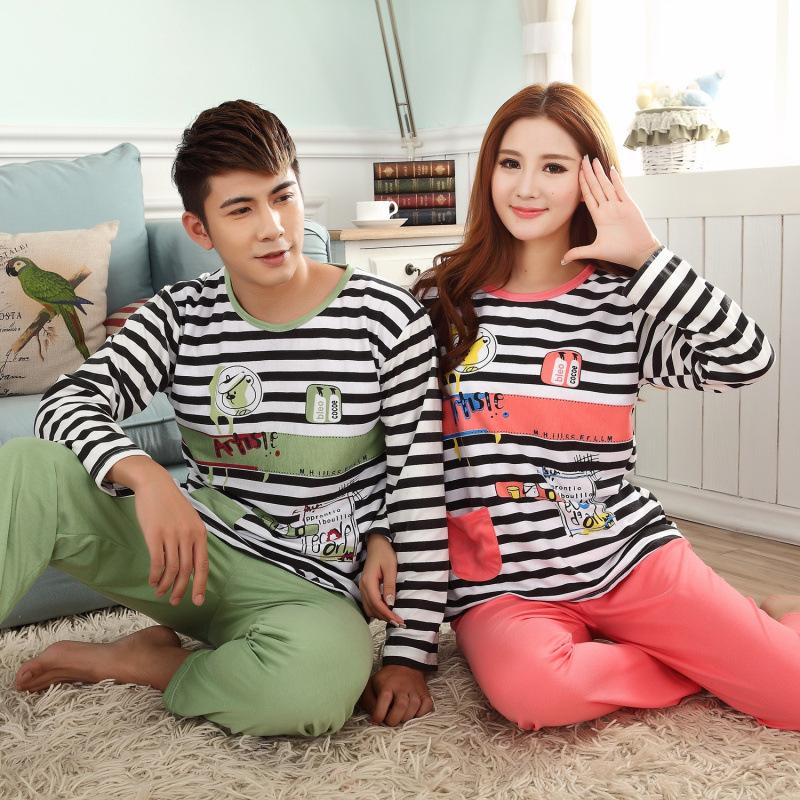 Пижама женщины ночные сорочки мужчины пижамы полосатый с длинными рукавами пижамы хлопка мультфильм милые пижамы множеств мужчин пару пижамы