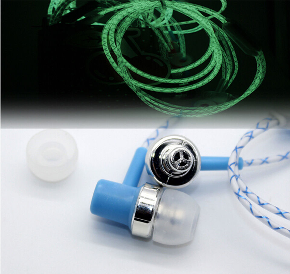 Glow In The Dark In ear Earphones 3.5mm Super Bass Stereo For iPhone Samsung With Mic auriculares fone de ouvido auriculares