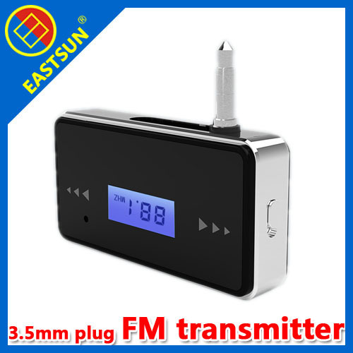 EASTSUN Car FM Transmitter with LCD Screen 3.5mm Plug USB for iphone ipad radio station mp3 player cell phone mobile phone