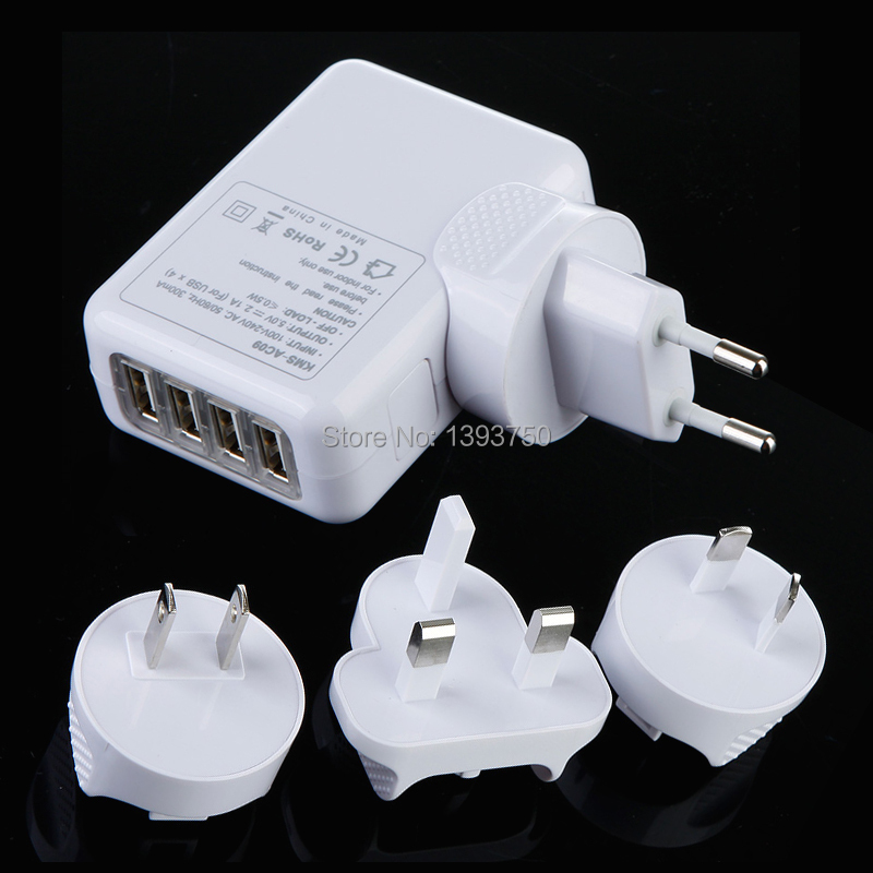4 four Port USB AC Adapter Wall Charger for iPhone 4 4S 5 for iPad 2 3 4 ipad mini US EU UK AU Plug for choose(China (Mainland))