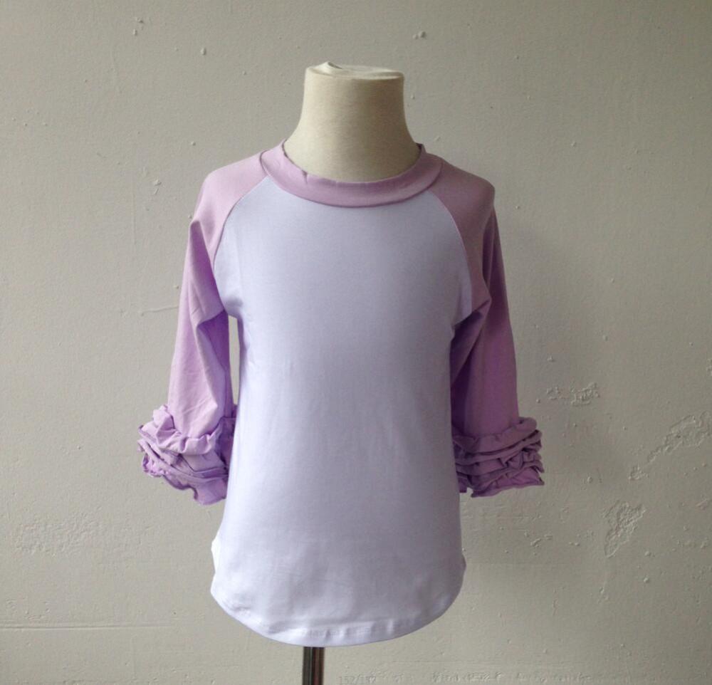 Fashion custom infant kids wholesale ruffle raglan tshirts for Cheap bulk custom t shirts