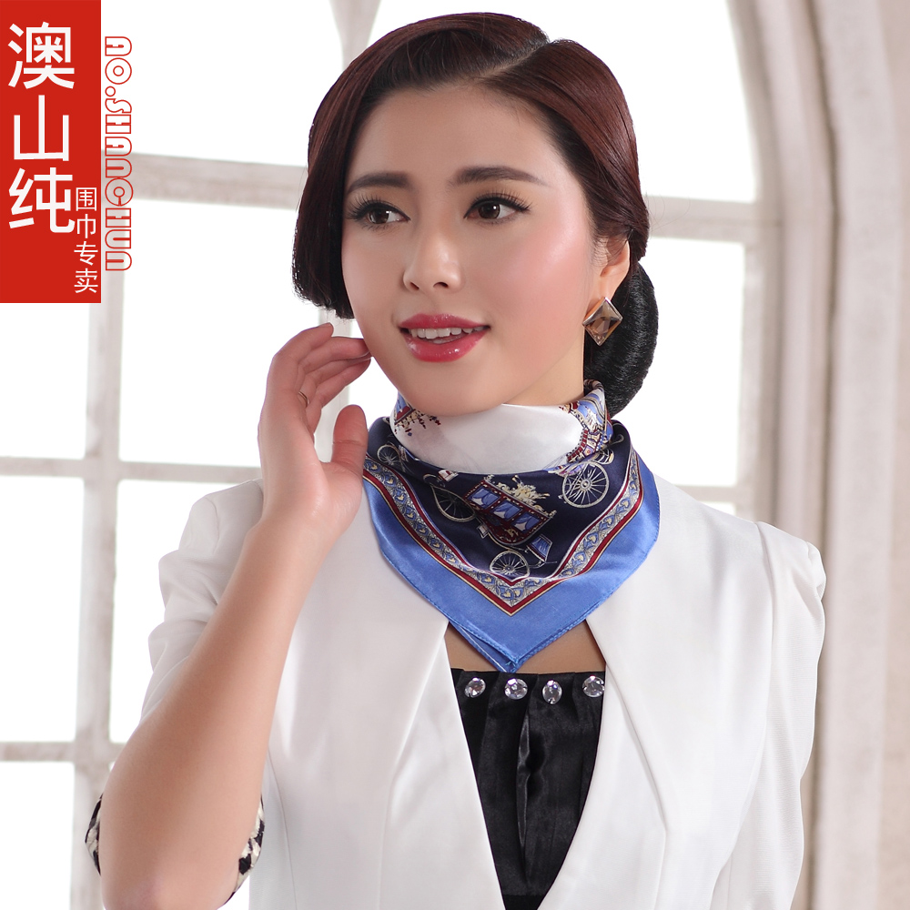 Spring Autumn Female Blue Mulberry Silk Small Square Scarf Printed Fashion Brand Women Silk Scarf Summer Female Facecloth(China (Mainland))