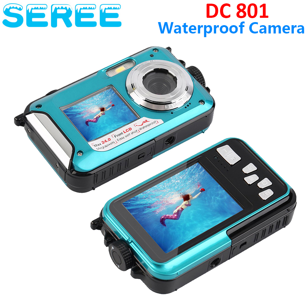 Seree Double Screens Waterproof Shockproof Digital 24MP Camera Dual Full-Color LCD Displays Camcorder FHD 1080p Video Recorder(China (Mainland))