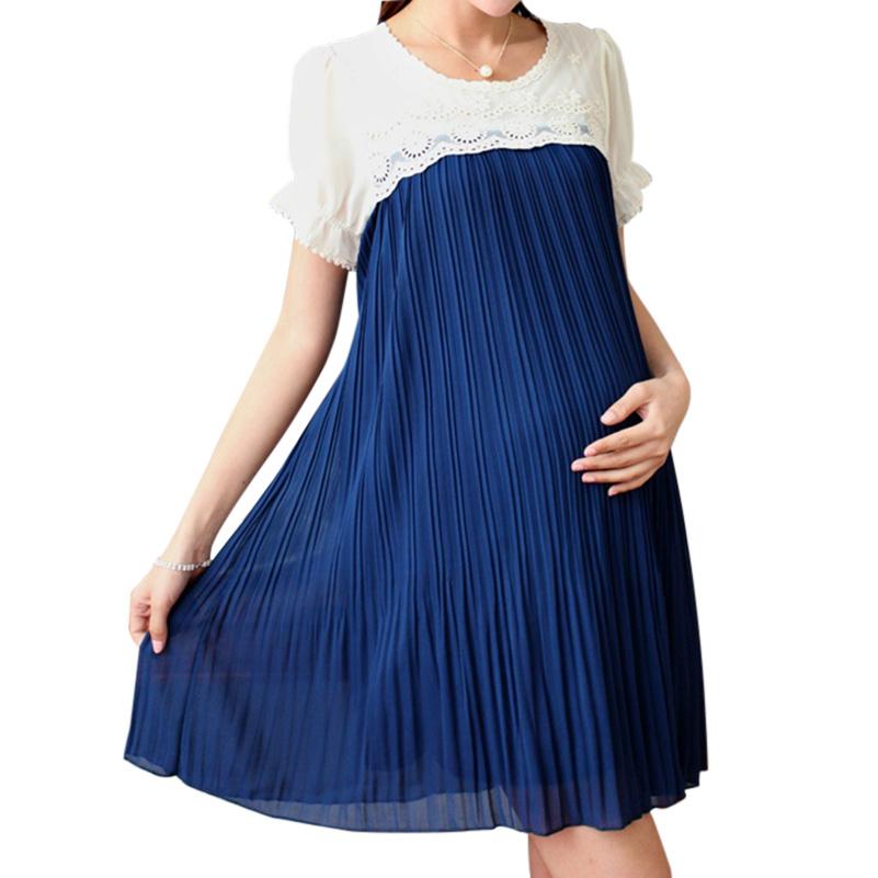 Hot Sales Plus Size Casual font b Maternity b font Dress Chiffon Pleated font b Maternity