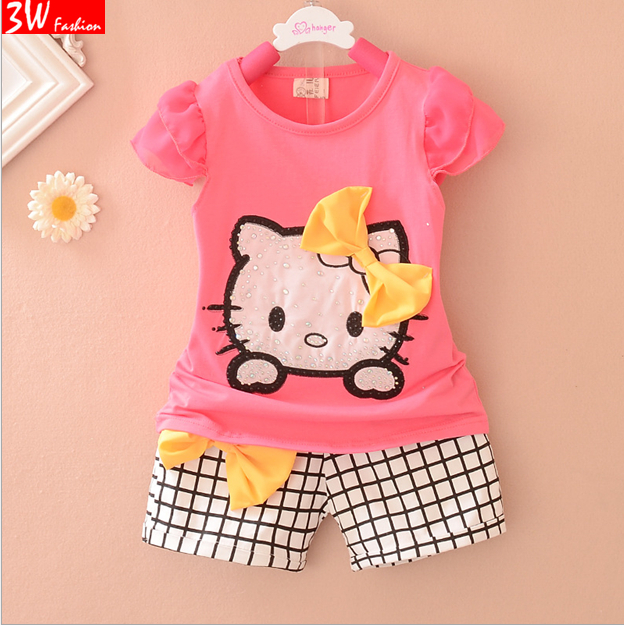 Summer Children's Cartoon hello kitty Baby Girls Sets Short sleeve T shirt+ plaid shorts suit children suit children's clothes(China (Mainland))