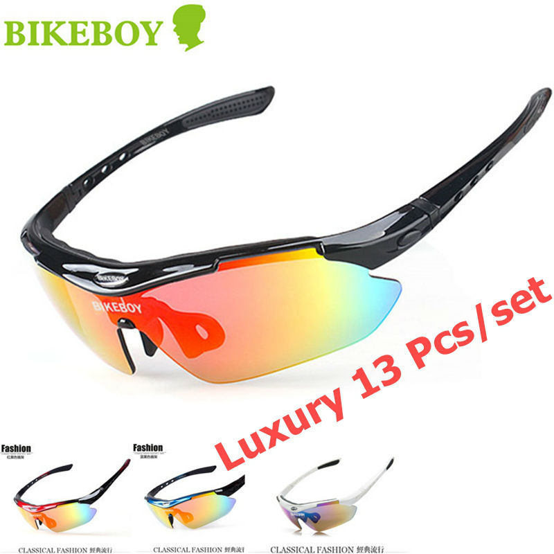 2015 Luxury 13 PCS Cycling Glasses Polarized UV400 Men Women Sun