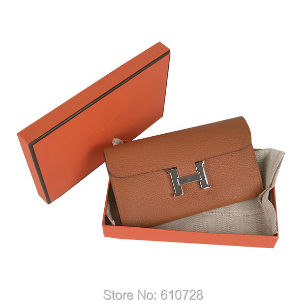 Free Shipping 2015 Famous H Brand Design Wallet For Women Best Quality Togo Leather Light Coffee Constance Purse Silver Hardware(China (Mainland))