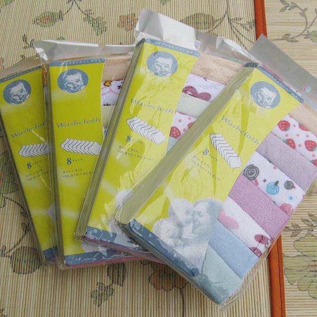 ( 8 pcs/lot ) Kit Soft Baby Newborn Children Bath Towels Washcloth for Bathing Feeding(China (Mainland))