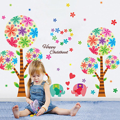 Happy Rainbow Tree Wall Stickers Beautiful Flower Vinyl Wallpaper Decal Child Room Bedroom Nursery Party Baby Girl Decorations(China (Mainland))
